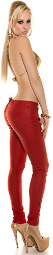Damenhose - mit Nieten und Schnürung - Gr. S M L XL Hose Skinny Pants Röhre Damen (900606 Gr. L rot)