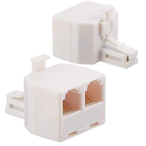 Uvital RJ11 Duplex Wall Jack Adapter Dual Phone Line Splitter Wall Jack Plug 1 to 2 Modular Converter Adapter for Office Home ADSL DSL Fax Model Cordless Phone System, White(2 ()