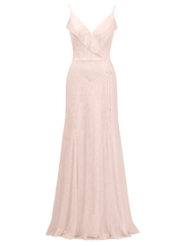 Pink Alicepub Long V Dress Bridal Gown Bridesmaid Dress Pearl Spaghetti Party Evening Lace Neck XIOXr