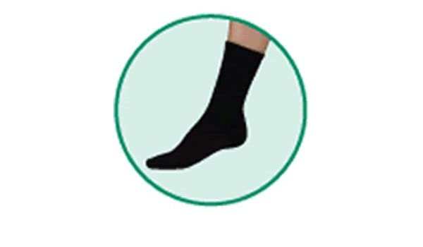 363d20552 Amazon.com  JUZO Silver Sole Crew Length Socks Black - Comfort Socks with  X-Static