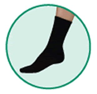 - JUZO Silver Sole Crew Length Socks Black - Comfort Socks with X-Static, Size 2, Small, Compression