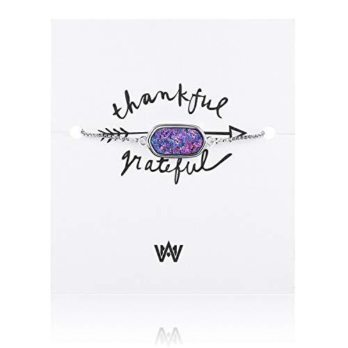 (WISHMISS Women Silver Pendant Necklace in Multicolor Drusy (Purple Drusy)