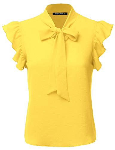 (FASHIONOLIC Women's Casual Cap Sleeve Bow Tie Blouse Top Shirts (PSALM23) Yellow S)