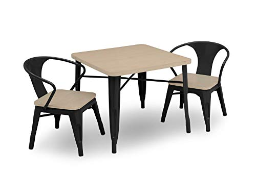 Delta Children Bistro Kids Play Table with 2-Piece Chair Set | Black with Driftwood ()