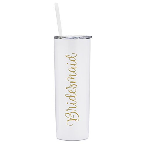 (Bridesmaid - 20 oz Stainless Steel Skinny Tumbler with Lid and Straw (White and)