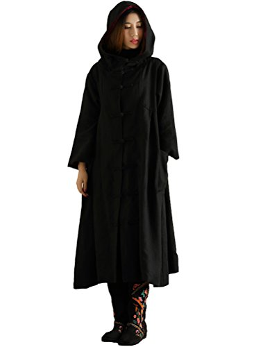 [Mordenmiss Women's Long Sleeve Hooded Frog Button Coat With Two Pockets Style 4 L Black] (Button Front Hooded Coat)