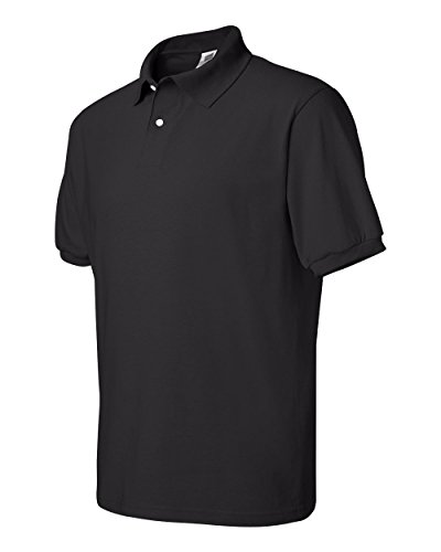 Hanes+Stedman+Jersey+Knit+Polo+shirt+-+BLACK+-+XXXX-Large