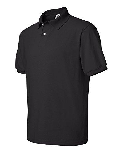 Polo Collar T-shirt (Hanes Men's Cotton-Blend EcoSmart Jersey Polo,Black, size L)