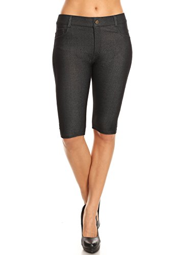 - ICONOFLASH Women's Jegging Bermuda Shorts - Pull On Soft Stretchy Cotton Legging with Plus Size Options (Black, Large)