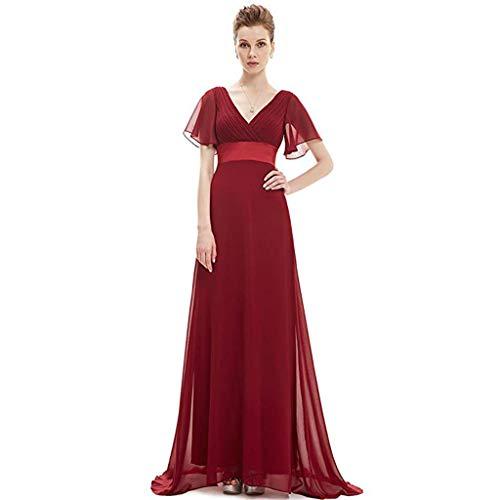 Ailin Vino Tamaño Vestidos Home En Cuello Mujer Cintura Rojo Para Doble V Con Noche color De 18 Largos axqw6FPa