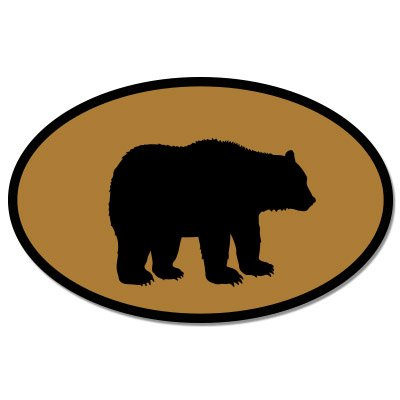 Brown Helmet Case (Bear Oval Brown Vinyl Sticker - Car Phone Helmet - SELECT SIZE)