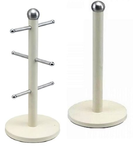 Stainless Steel Kitchen 6 Mug Tree Holder & Towel Roll Holder Set Pole Stand New (Black) Wilsons Direct