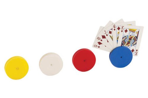 (4 Piece Round Card Holders in Red, White, Yellow & Blue, Multi)