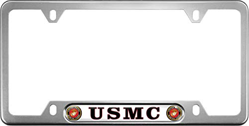 (USA Patriotic Anodized Aluminum Thin Top | Narrow Top Car License Plate Frame with USMC | Marines - White Insert with Free caps - Silver)