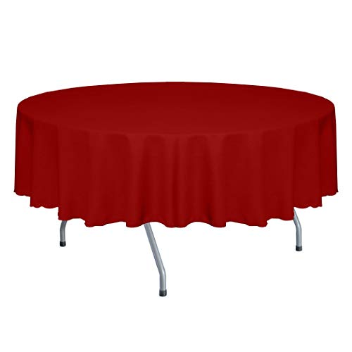 Ultimate Textile -2 Pack- Faux Burlap - Havana 58-Inch Round Tablecloth - Basket Weave, Holiday Red -