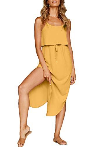 (NERLEROLIAN Women's Adjustable Strappy Split Summer Beach Casual Midi Dress (Dark Yellow, Large))