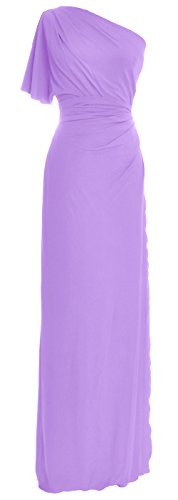 MACloth Elegant One Shoulder Simple Prom Gown Jersey Wedding Party Formal Dress (16, (Yumi Jersey Dress)