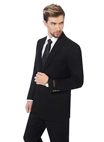 (P&L Men's Black/Blue Modern Fit Two-Button Blazer Suit Separate Jacket,Black,48 Long)