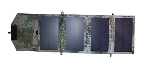 le Solar Charger for Mobile Phone iPhone Power Bank Folding Mono Solar Panel+Foldable Solar USB 5V Battery Charger (Digital Camouflage) ()