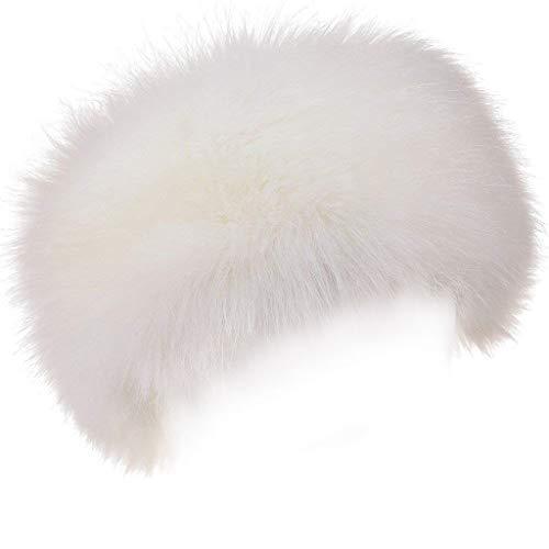 FAITH YN Faux Fur Headband with Elastic Stretch Women Fur Hat Winter Ear Warmer Earmuff Ski Cold Weather Caps [White]