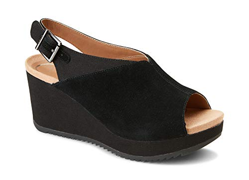 Vionic Women's Hoola Trixie Wedge - Ladies Concealed Orthotic Support Platform Sandal Black 7 W US