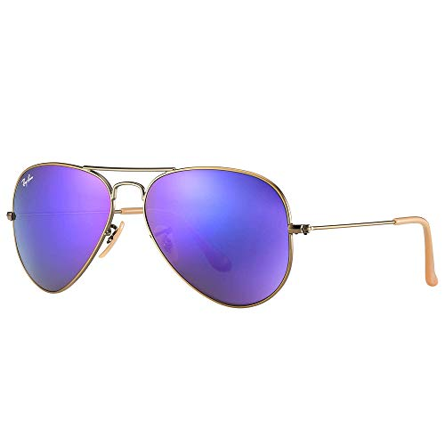 Ray-Ban RB3025 Aviator Flash Mirrored Sunglasses, Brushed Bronze Demi Shiny/Violet Mirror, 58 mm