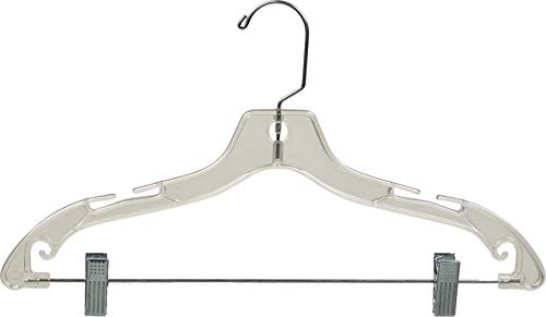 The Great American Hanger Company Clear Plastic Combo Hangers, Box of 50 Flat Ladies Hangers with Adjustable Cushion Clips and Chrome Swivel Hook (Hook Swivel Chrome)