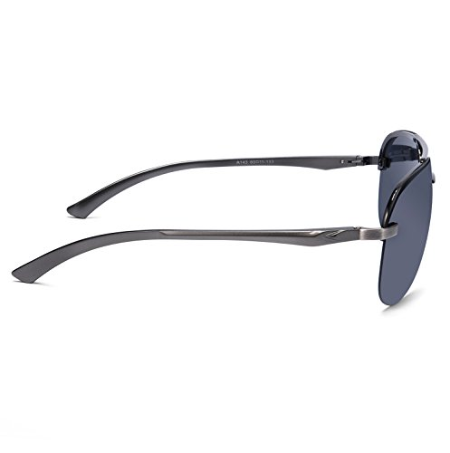 e19e1743c0 SUNGAIT Lightweight Aviator Sunglasses - UV400 Polarized Lens Metal Frame  (Gunmetal Frame Gray Lens