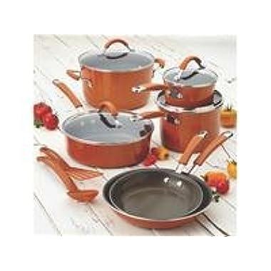 Rachael Ray Cucina Hard Porcelain Enamel Nonstick Cookware Set, 12-Piece, Pumpkin Orange