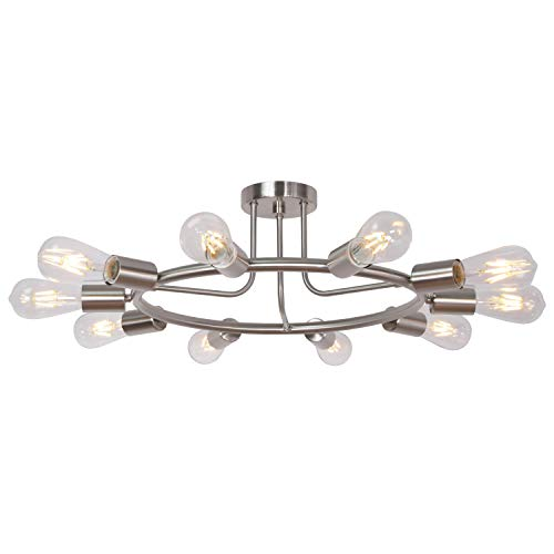 BONLICHT Round Rustic Chandelier 10-Light Brushed Nickel Modern Semi Flush Mount Ceiling Light Industrial Vintage Sputnik Chandelier Light Fixture for Living Room Dining Room Bed Room Kitchen -