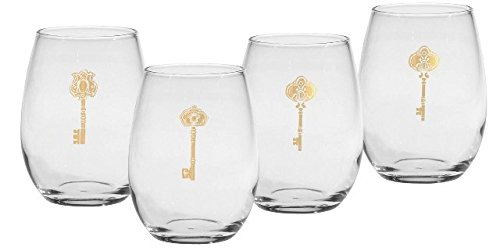 Culver Gold 22k Antique Keys 15-Ounce Stemless Wine Glass (Set of ()