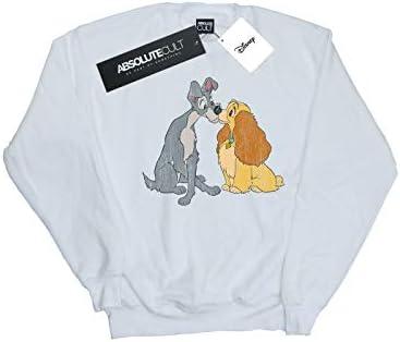 Disney Herren Lady and The Tramp Distressed Kiss Sweatshirt Weiß X-Large