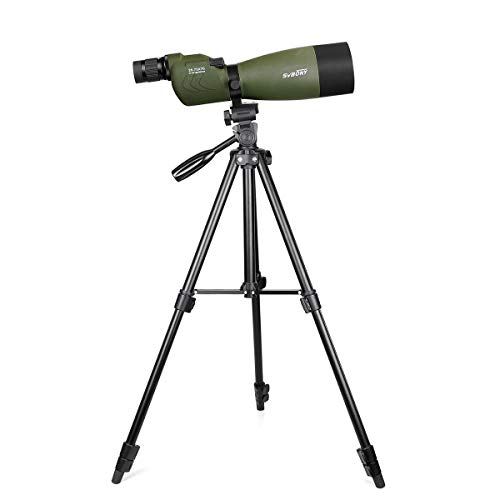 SVBONY SV17 25-75x70mm Spotting Scope Zoom Telescope Waterproof Straight Spotting Scope with 4 Sections Tripod for Bird Watching Target Shooting