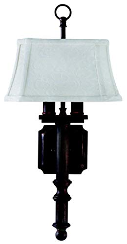 (House Of Troy WL616-CB 19-Inch 2-Light Glass Wall Sconce, Copper Bronze)