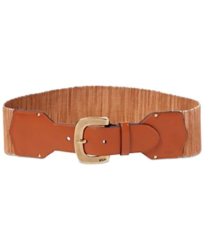 Lauren Ralph Lauren Womens Faux-Leather Stretch Belt Natural Lauren Tan Large (Lauren Ralph Lauren Leather C Buckle Belt)