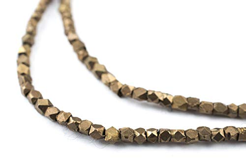 2mm Antiqued Brass Cornerless Cube Beads - Full Strand of Ethnic Metal Spacer Beads - The Bead Chest ()