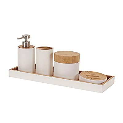 Household Essentials Elements Bamboo 5 Piece Bathroom Accessory Set - 5 pc. Bamboo vanity organizer set with smooth-sided bamboo panels and white trim Includes: shallow tray, storage cup, soap dispenser, tooth-brush holder, and soap dish Simple, minimalist design - bathroom-accessory-sets, bathroom-accessories, bathroom - 31XDJ0RwlcL. SS400  -