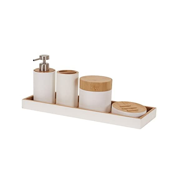 Household Essentials Elements Bamboo 5 Piece Bathroom Accessory Set -  - bathroom-accessory-sets, bathroom-accessories, bathroom - 31XDJ0RwlcL. SS570  -