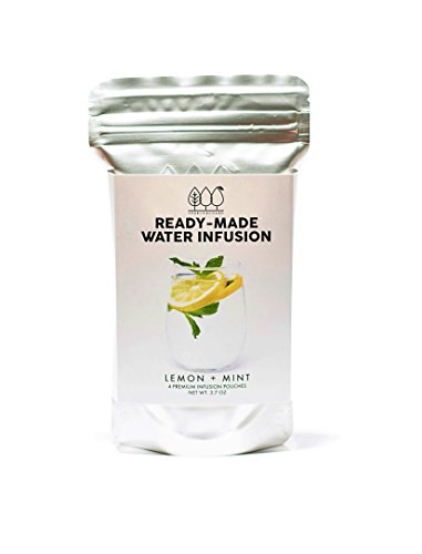 Ready-Made Water Infusion Pouches by Herb and Orchard, All-Natural, (4 Premium Water Infusion Pouches) - (Lemon + Mint)