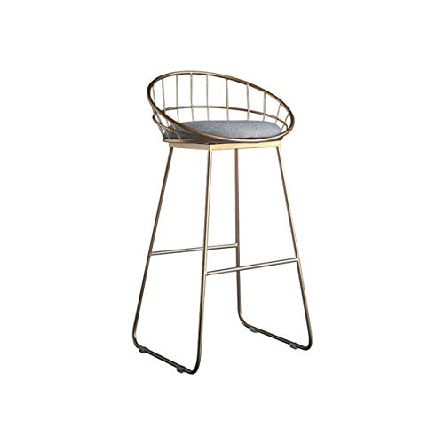 SEEKSUNG Stools Northern Europe Golden or White Bar Chair High Stool Modern and Simple Bar Stool with Backrest and Footrest-Gold