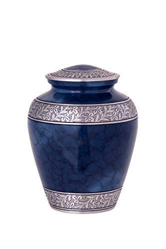 Enshrined Memorials Cremation Urn for Ashes - Oceanus Series Affordable Solid Aluminum Metal Quality Handcrafted for Human Funeral Burial Large 10 inch, Blue Cloud with Leaves
