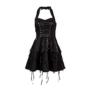 Glam and Gloria Womens Black Gothic Steampunk Pirate Mini Dress with Lacing