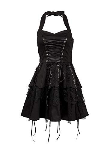 Glam and Gloria Womens Black Gothic Steampunk Pirate Mini Dress with Lacing - Size US 4