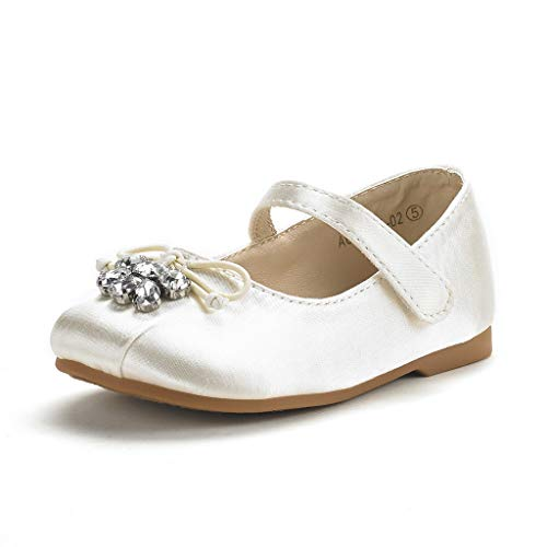 Ivory Satin Flower Girl Shoes (DREAM PAIRS Toddler Aurora-02 Ivory Satin Girl's Mary Jane First Communion Flat Shoes Size 5 M US)