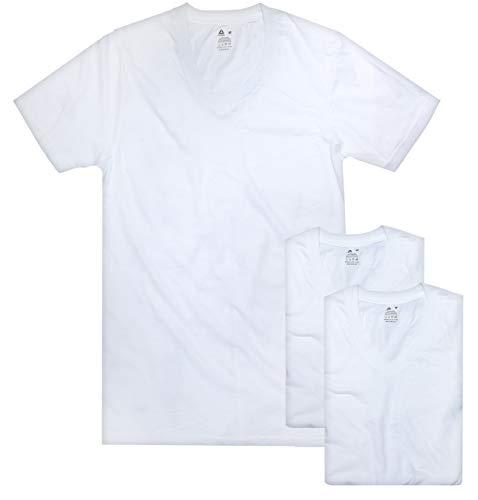 Reebok Men's V-Neck T-Shirt (3 Pack), White, X-Large