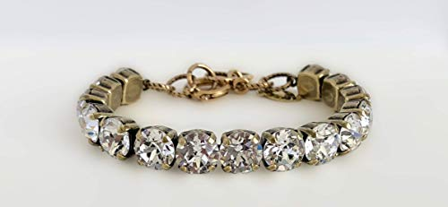 Link Bracelet Setting - Gold Crystal Bracelet Swarovski Wedding Link Jewelry on Antique Gold Setting by It's Crystalicious