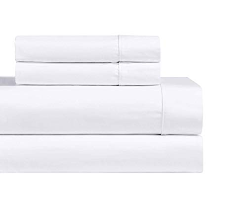(Abripedic Solid 1000-Thread-Count, 100-Percent Cotton, 22-Inch Extra Deep Pocket, King 4PC Bed Sheets Set, White)