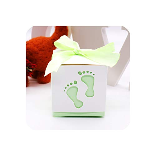 10Pcs Baby Shower Baby Foot Candy Box Laser Cut-Out Baby Shower Favor Gift Candy Box Gift Boxes for Boy Girl Birthday Party,Green]()
