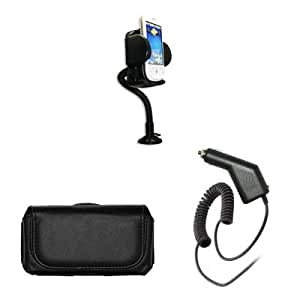 Sony Ericsson Xperia X10 360 Degree Rotatable Car Windshield Holder Suction Mount with Air Vent Attatchment + Executive Black Horizontal Leather Side Case Pouch with Belt Clip and Belt Loops + Rapid Car Charger for Sony Ericsson Xperia X10
