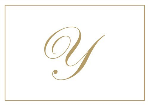 Thank You Notes Personalized Stationery Note Cards for Thank You Note Monogrammed Initial Box of 16 Gold Letter Y